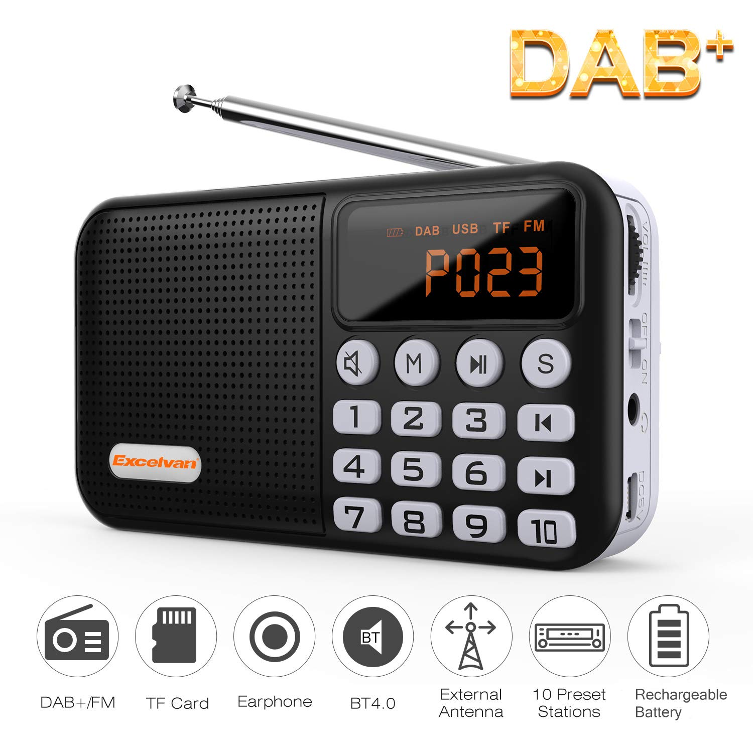 Excelvan Portable DAB / DAB+ Digital Radio with FM