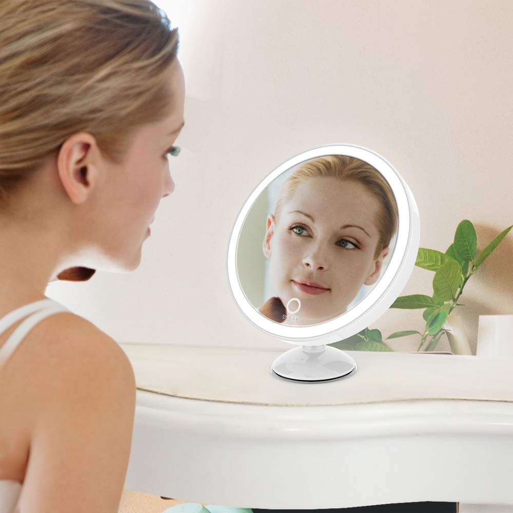 SKM Lighted Vanity Makeup Mirror with 23 LEDs, 1X and 5X Magnifying Lighted Tabletop Vanity Mirror