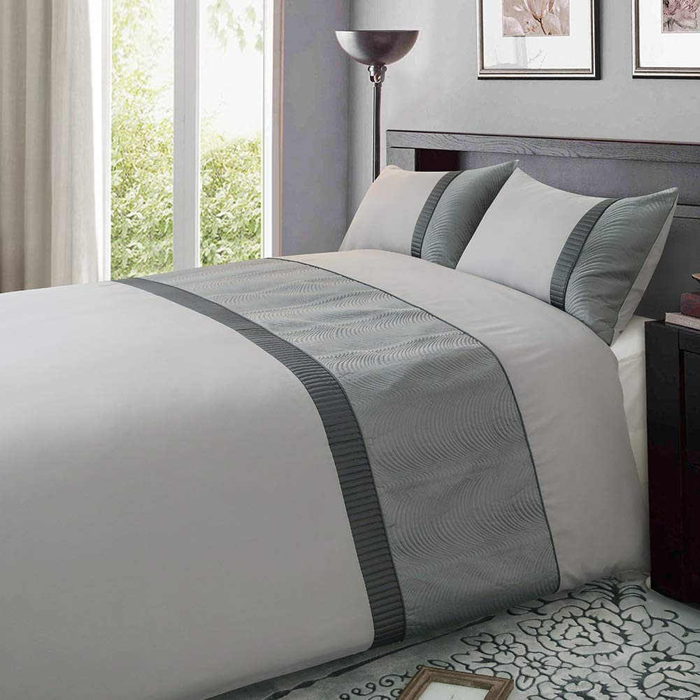 Eleanor Fashion Home Duvet Cover Set Silver Grey Embroidery, Satin Bedding Quilt with 2 Pillowcases