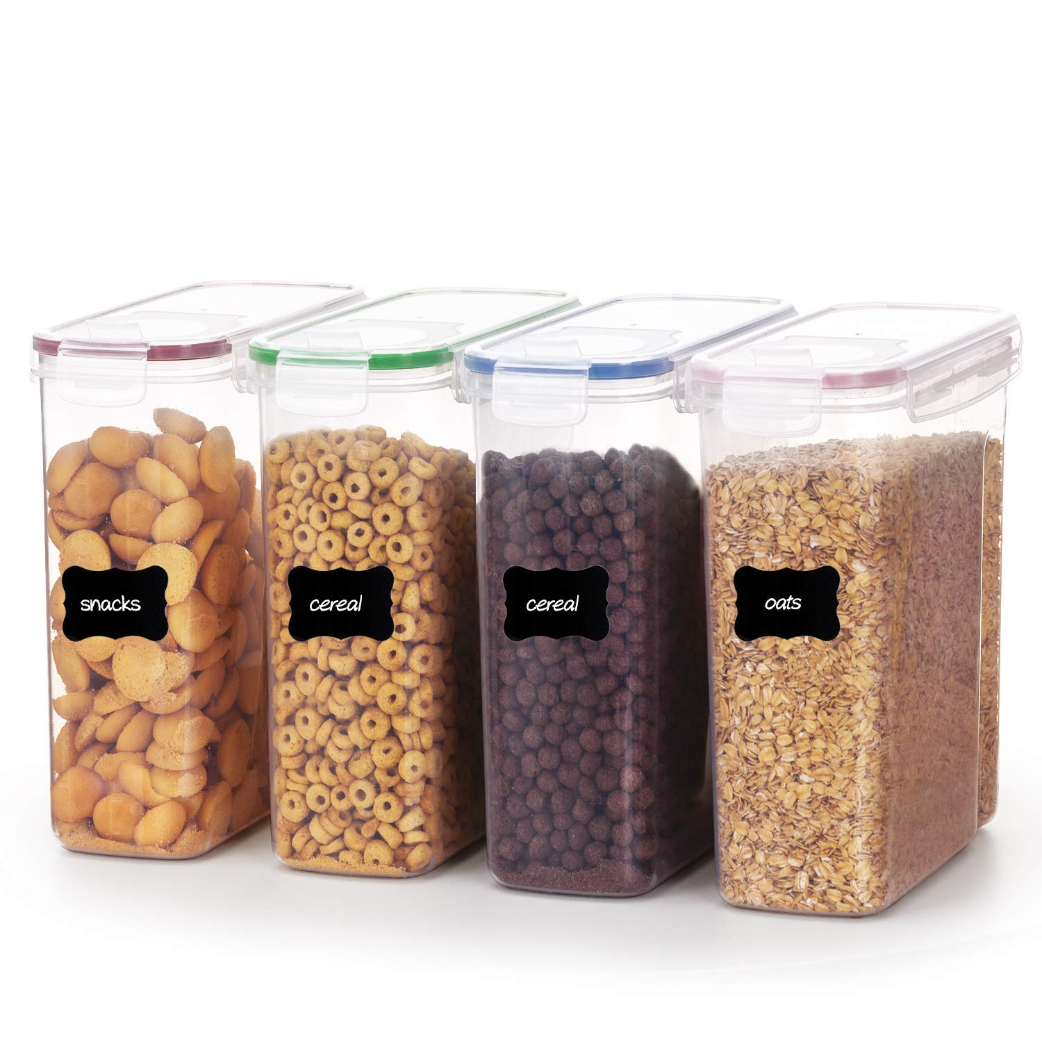 Vtopmart 4L Large Cereal Containers for Storage- Plastic BPA Free Kitchen Pantry Storage Containers,Set of 4
