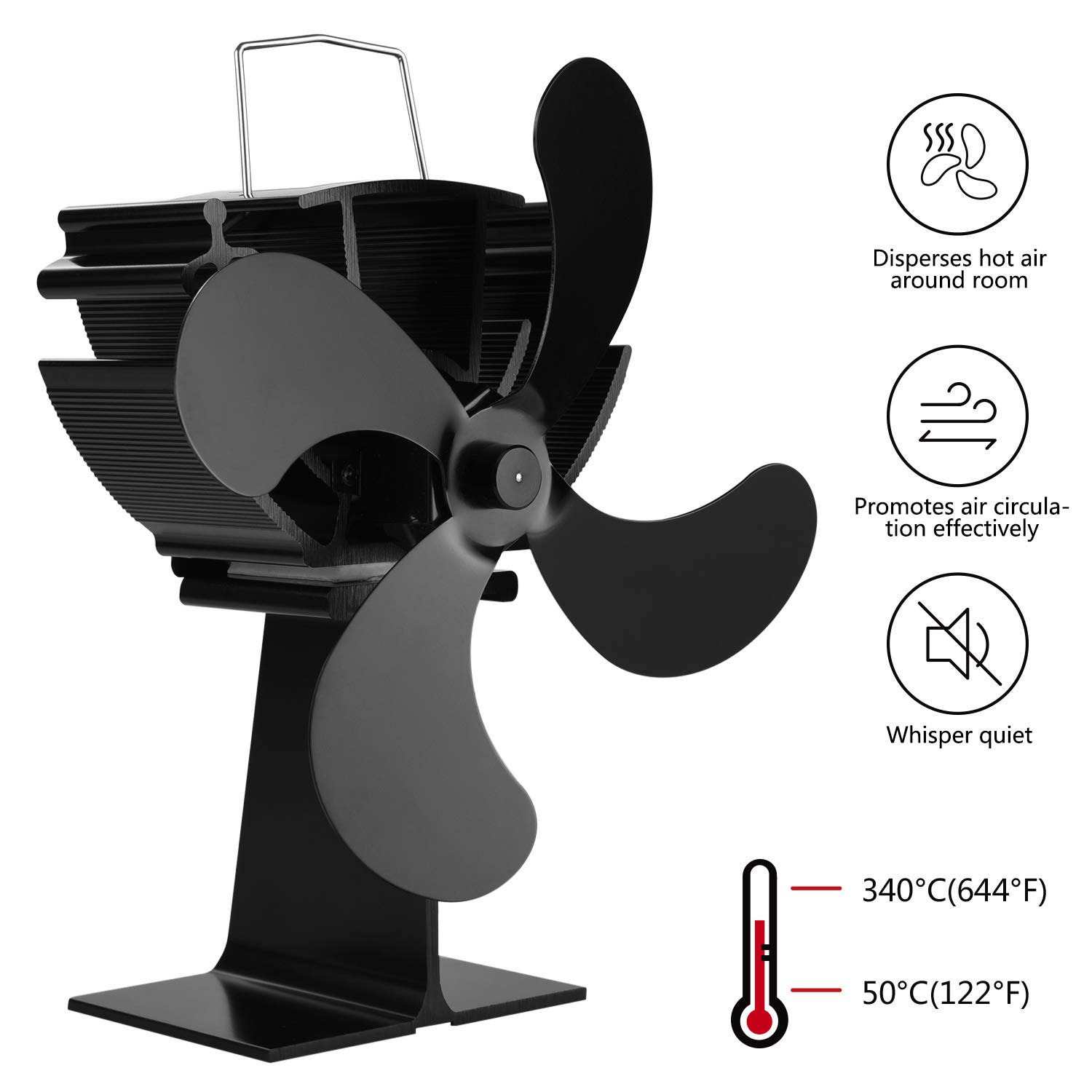 AlfaView Stove Fan 4 Blade Heat Powered Whisper Quiet Eco-Friendly Stove Fan