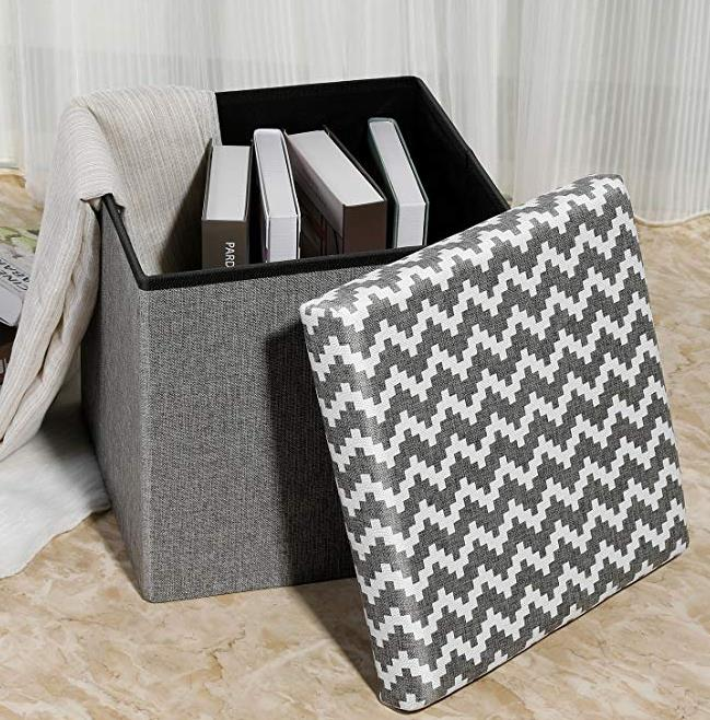 Bonlife Folding Storage Ottoman Linen Footstool Space-saving Chest Room Organizer Cube Box