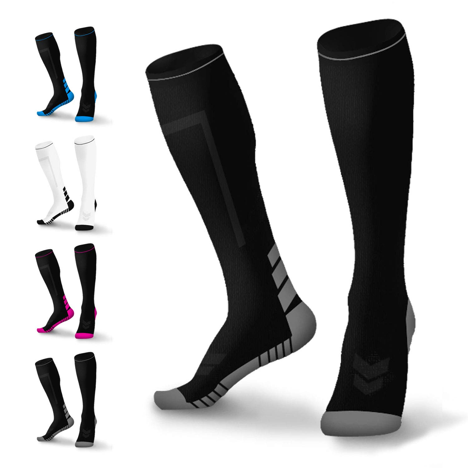 HZHY Compression Socks for Men & Women 15-20mmhg,Cushioned Graduated Compression Socks