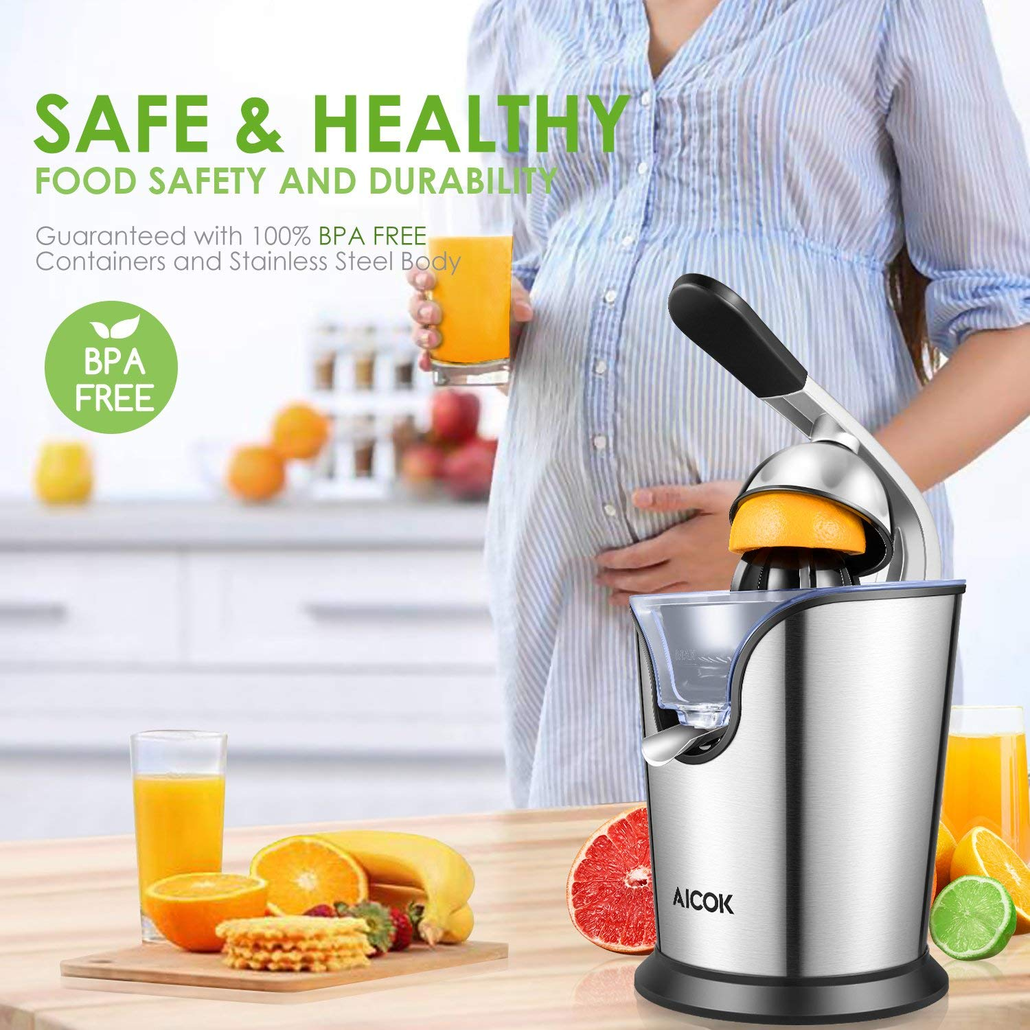 Aicok Orange Juicer Electric Citrus Juicer with Humanized Handle