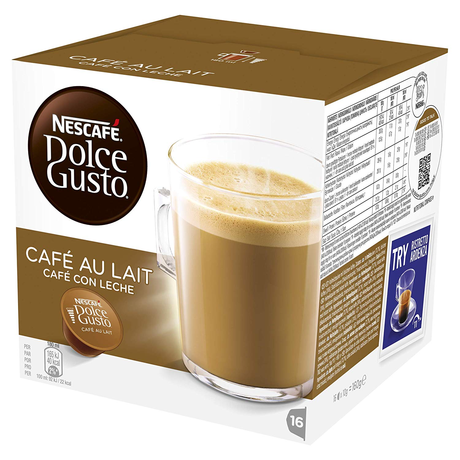 Cafe au lait Coffee Pods(Pack of 3 – Total 48 Capsules, 48 Servings)
