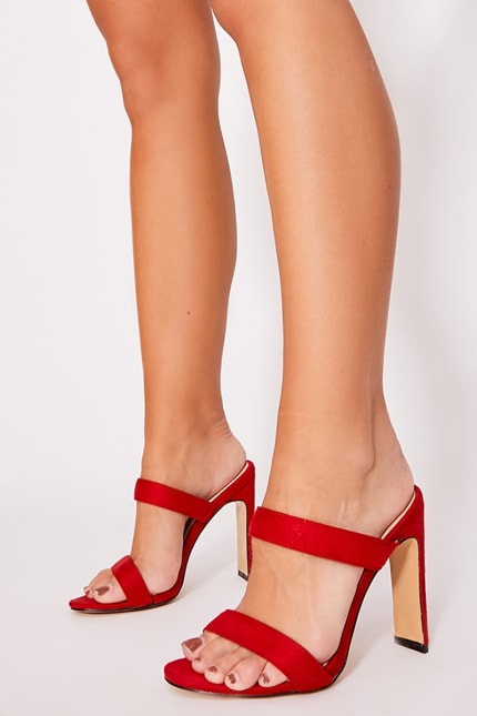 Maygan Red Faux Suede Double Starap Mules