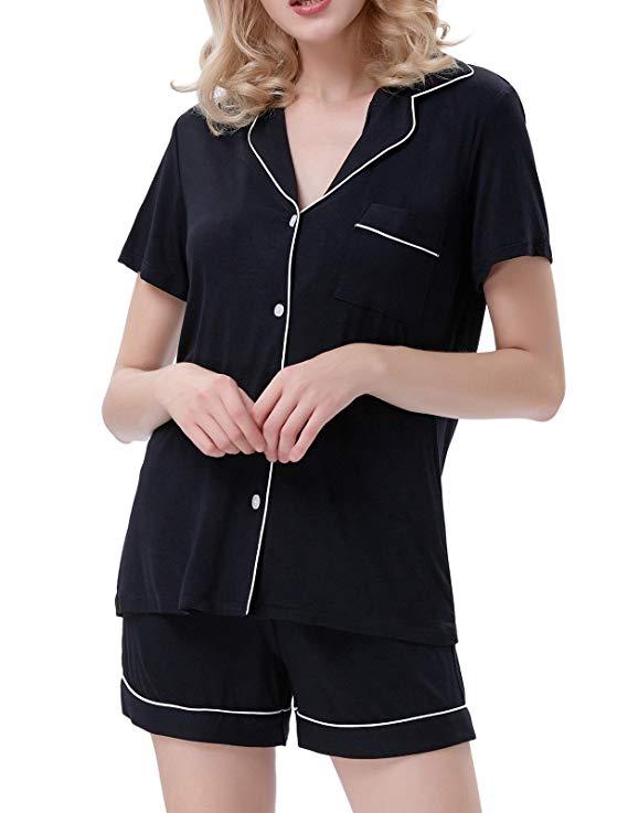 Zexxxy Women's Cotton Pajama Set Boyfriend Style Short Sleeve Top & Pants Sleepwear PJS