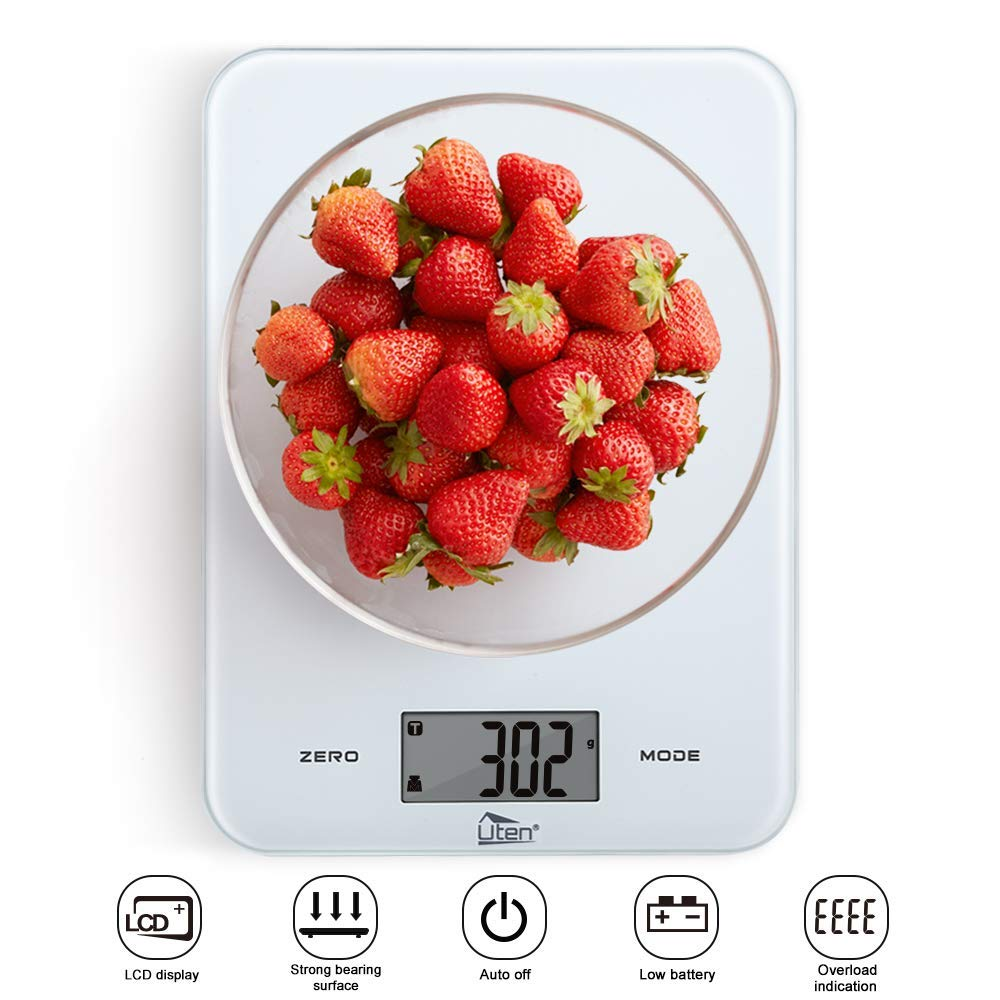 Kitchen Scales, Uten 8kg/17.6lb Digital Scales with Tempered Glass Platform Touch Button Food Weighing Scales and Battery Included (White)