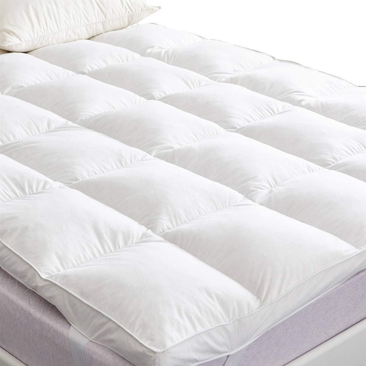 SUFUEE Goose Feather & Down Mattress Topper, 7cm Thick Bed Topper with 100% Cotton Shel