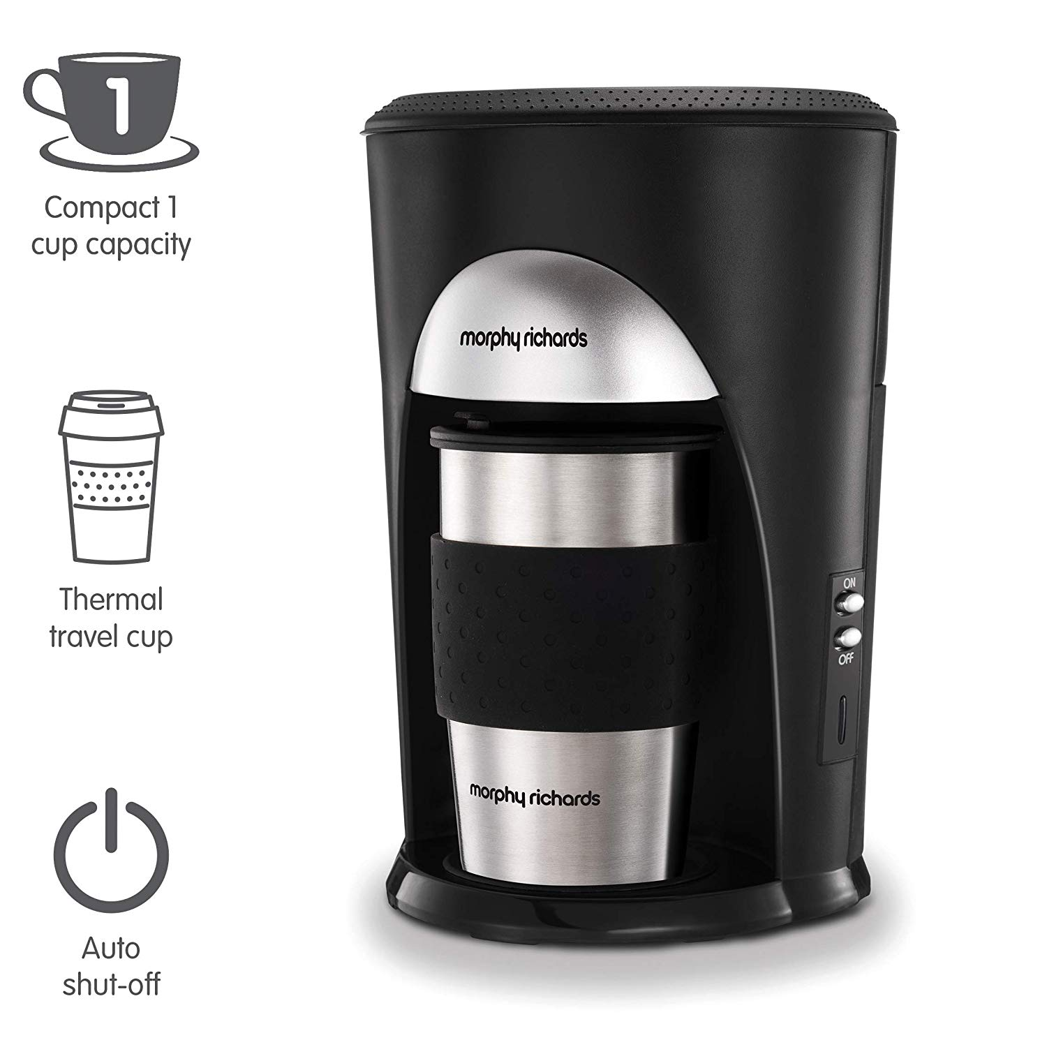 Filter Coffee Machine Black and Brushed Stainless Steel Coffee Maker