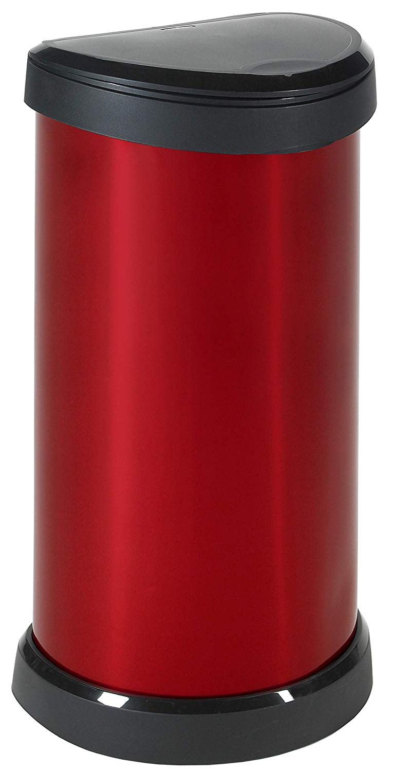 Curver Metal Effect Plastic One Touch Deco Bin, 40 L