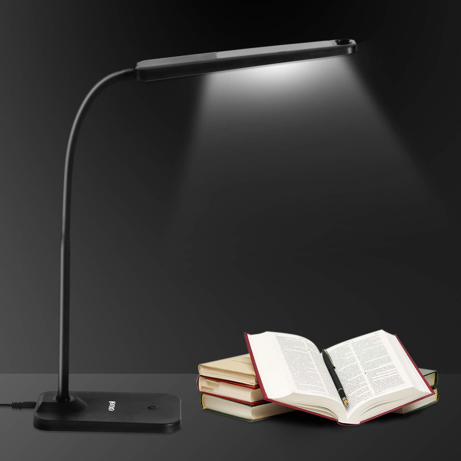LED Desk Lamp,Exwell Study with USB Charging Port, Stepless Dimming Rechargeable Table Office Lamp, Touch Control Book Light with Flexible Neck