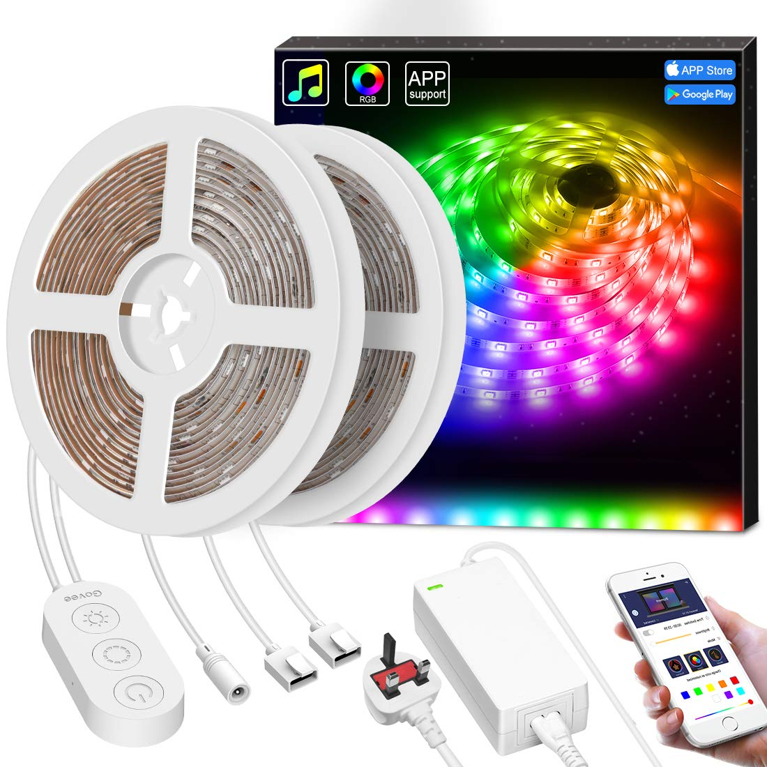 LED Strip Lights, Govee 10M Dream Colour Strip Light Music Sync with Brighter 5050 LEDs, Colour Changing Waterproof LED Lighting Kit App Controlled