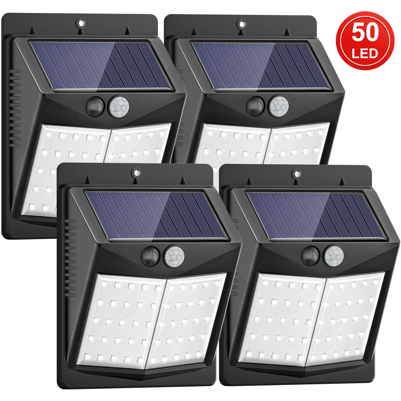 Solar Lights Outdoor, 150° Wide Angle Lighting Solar Motion Sensor Lights Waterproof
