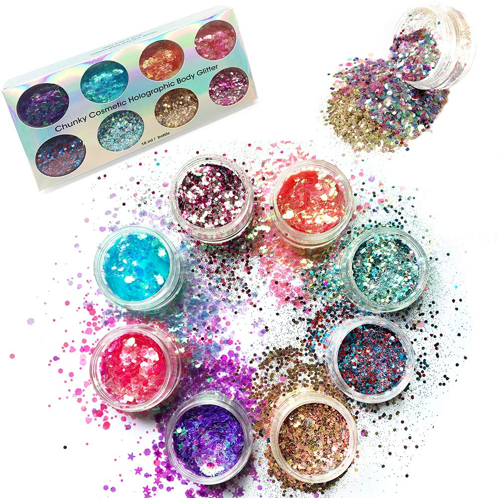 8 Boxes Chunky Glitter Nail Sequins Iridescent Flakes Ultra-thin Tips Colorful Mixed Paillette Festival Glitter Cosmetic Face Hair Body Glitter Nail Art