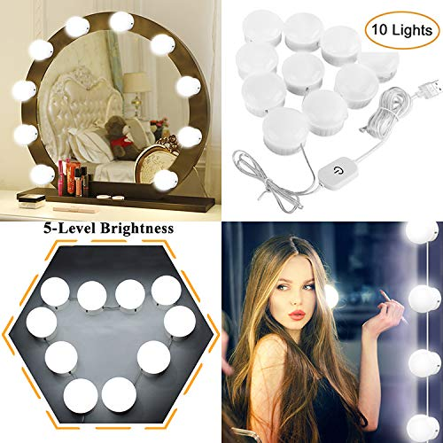 Vanity Mirror Lights Kits Hollywood Style LED Makeup Lights with 10 Dimmable Bulbs