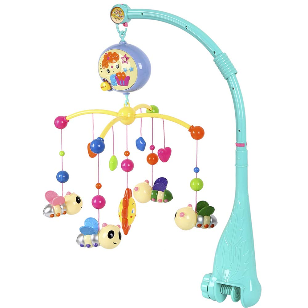 Baby Musical Cot Mobile Colorful Electric Rotating Music Toy with Small Sun Mobile Four Little Bee Fixed Bracket Adjustable Volume Music Player