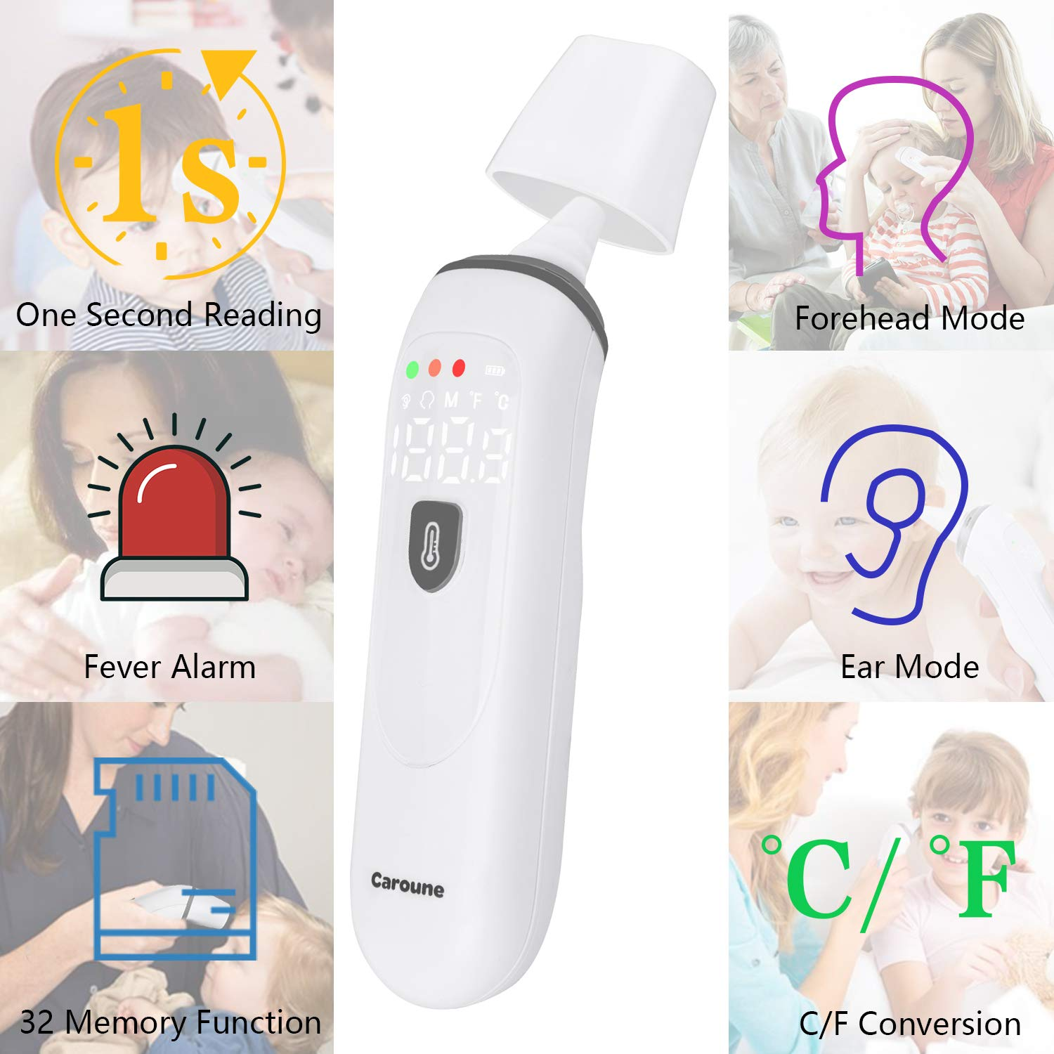 Caroune Thermometers for Kids Baby and Adult, Ear and Forehead Thermometer for Fever