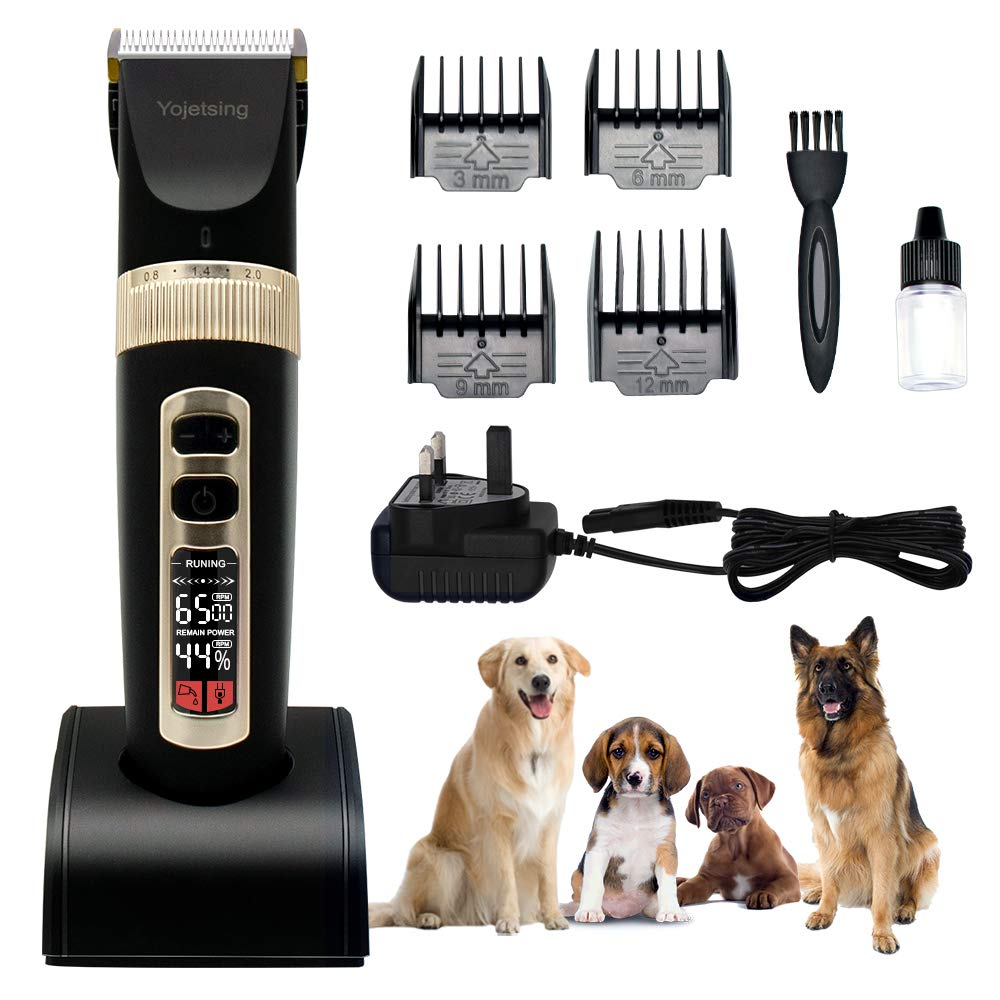 Dog grooming clippers with charging base