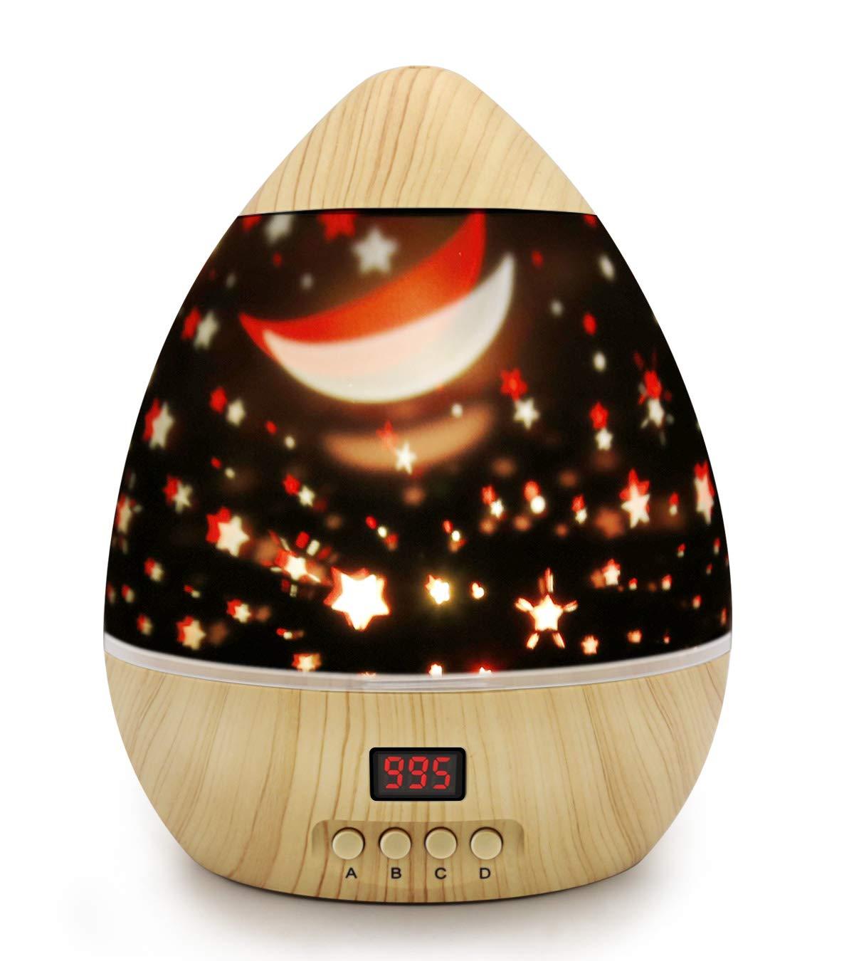 Timer Night Lamp,DSAATN 360 Rotating Star Moon Sky Projector, Romantic Home Decoration Lamp Christmas Gift for Children (