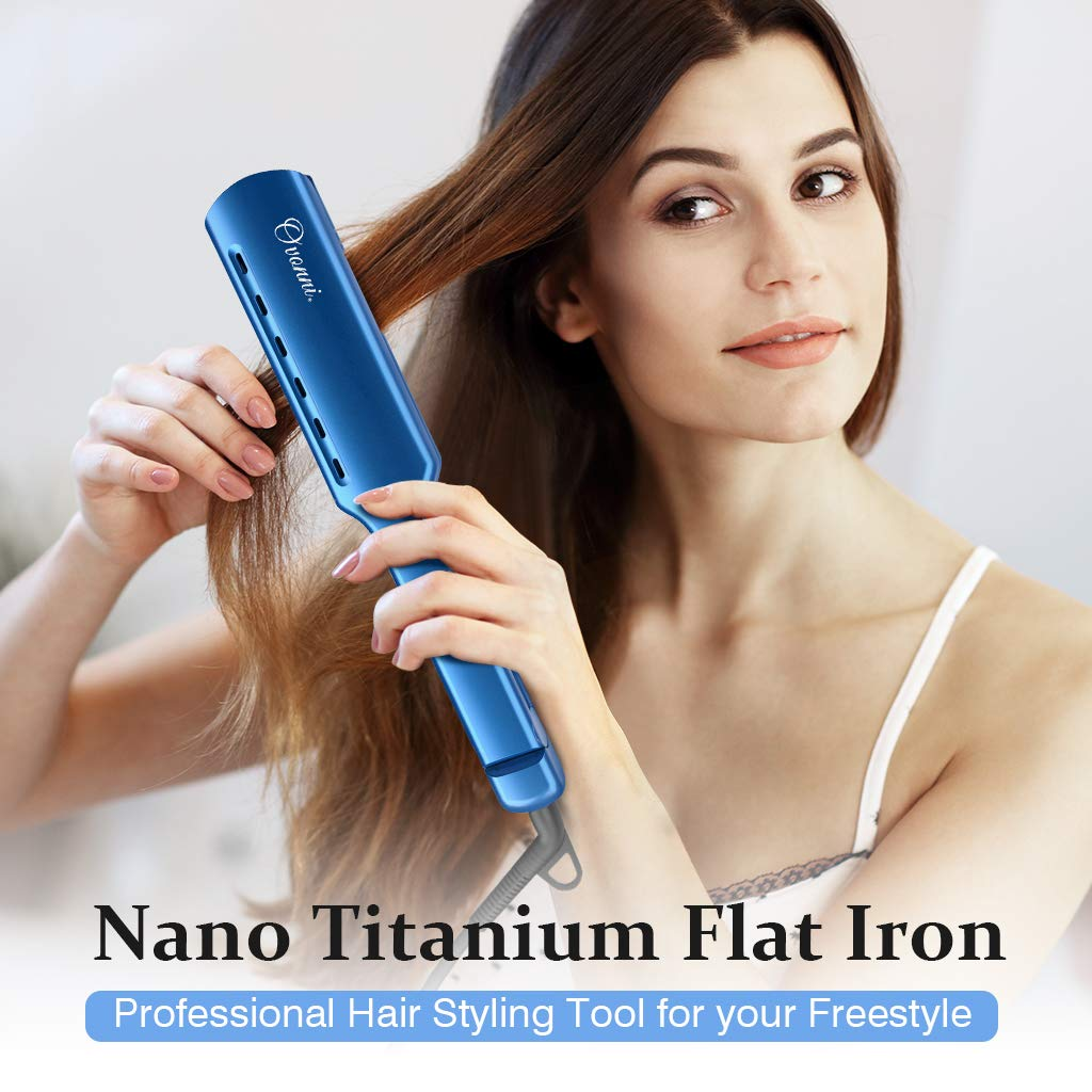 Ovonni Nano Titanium Hair Straightener, Dual Voltage 1 3/4 Inch Wide Plate Flat iron