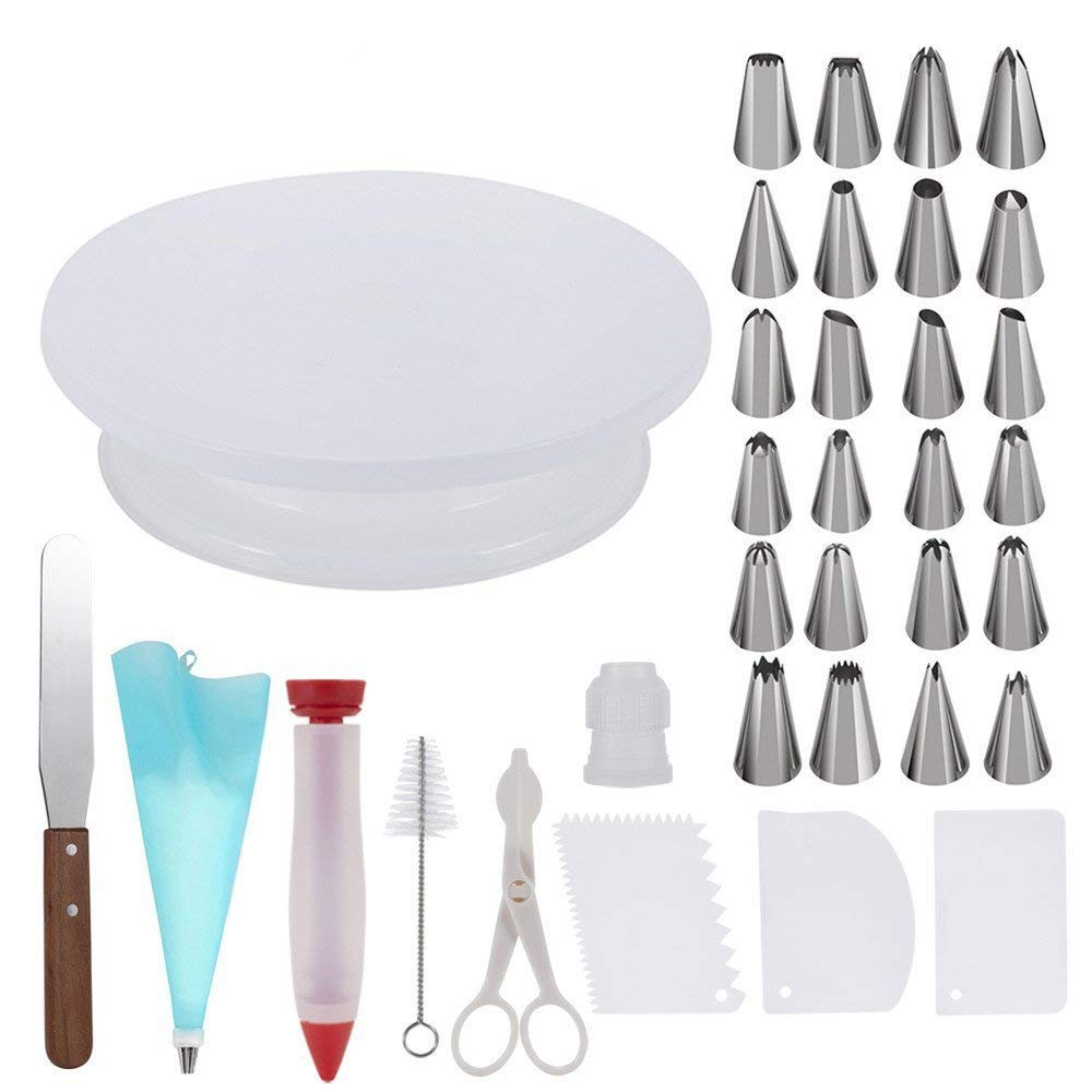 Cake Decorating Kit, Cake Decorating Tools, Cake Turntable, Spatula, Piping Tools, Reusable Silicone Piping Bag