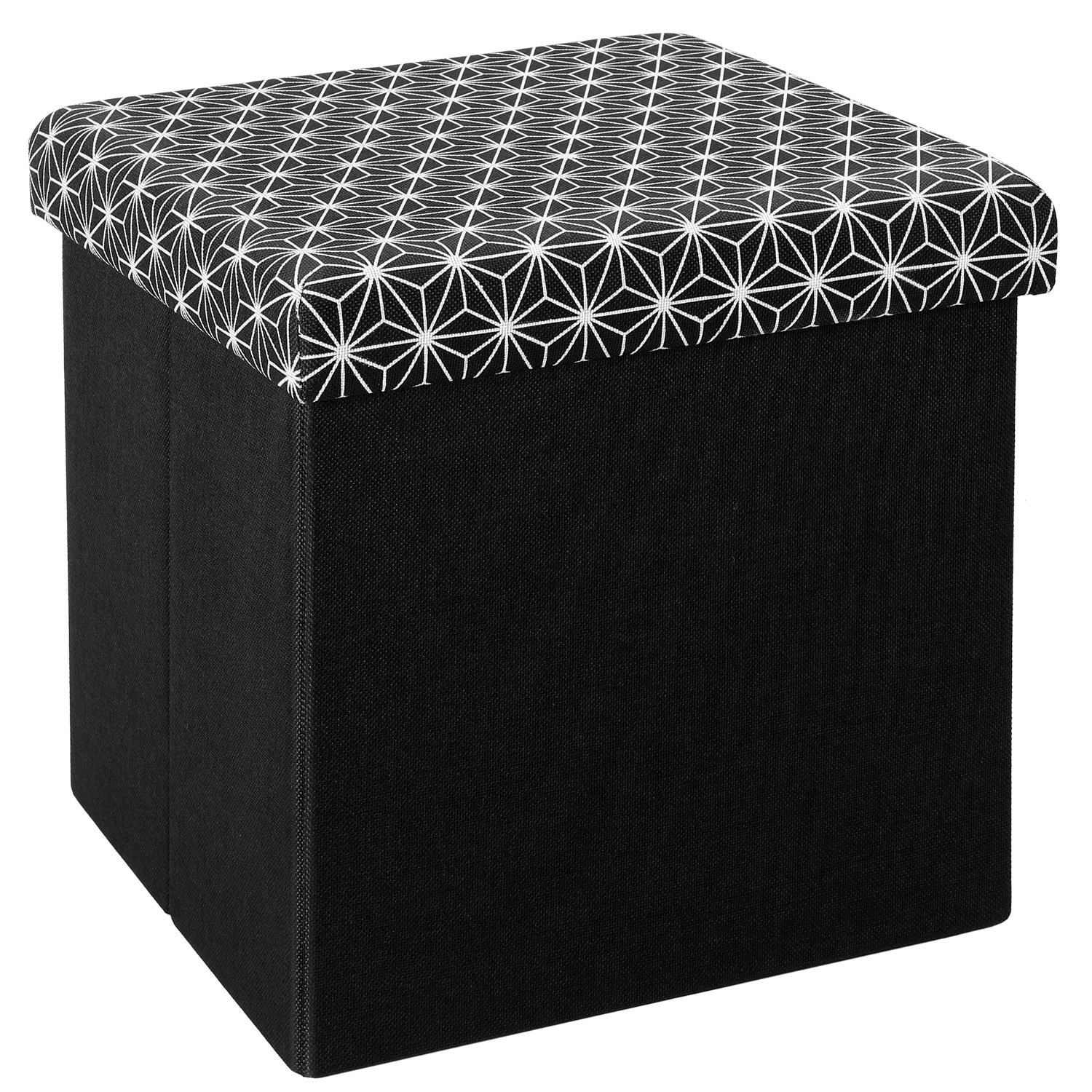 Ottoman Storage Boxes, Linen Fabric Folding Storage Ottoman Box Seat Foot Stool with Cushion