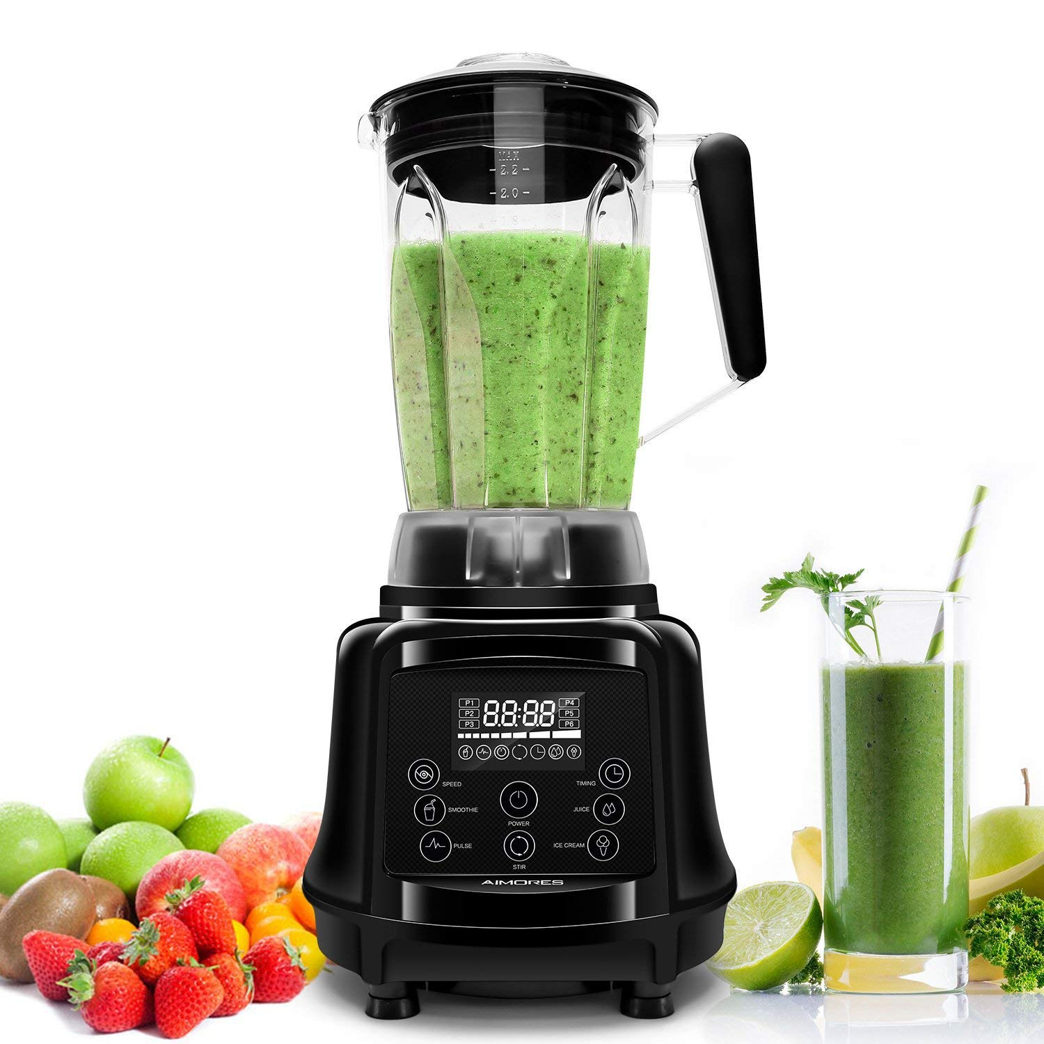 ISUN Aimores Commercial Blender for Shakes and Smoothies 75oz High-Speed Programmed Kitchen Blender, Smoothie Maker