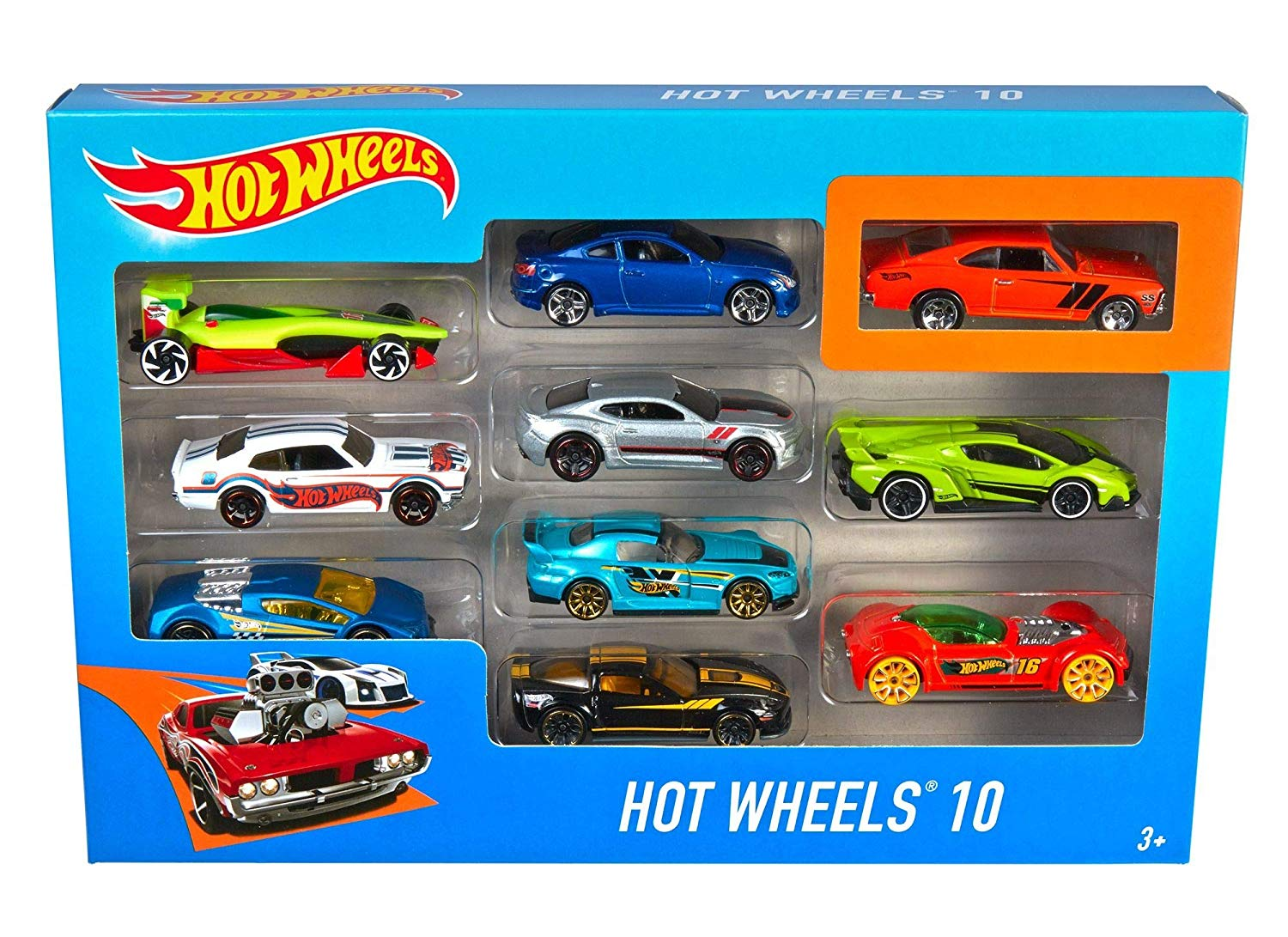 Hot Wheels Cars, Multi-Colour, Count 10