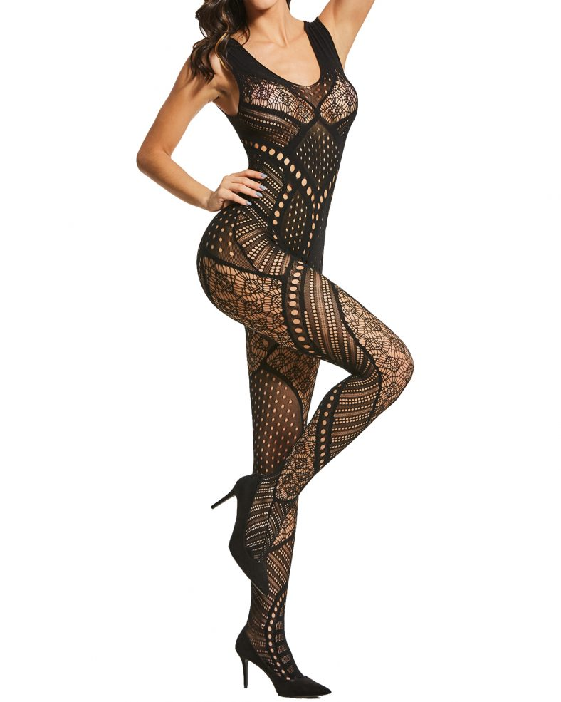 Alebear Women's Sexy Lingerie Fishnet Bodystocking Crotchless Bodysuit Tights