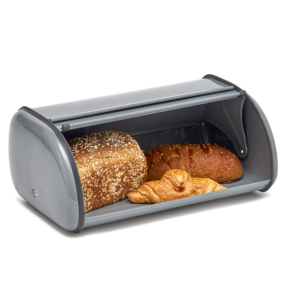 EZOWare Bread Storage Container, Kitchen Countertop Steel Bread Food Box Bin with Metal Roll Up Top Lid