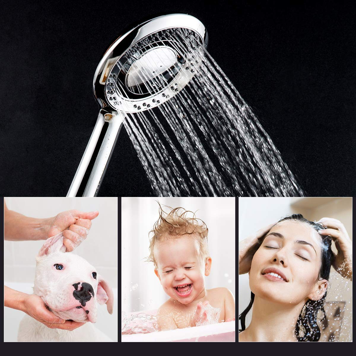 GAPPO Shower Head Handheld Rotating Adjustable 4 Modes Functions Spray Replacement