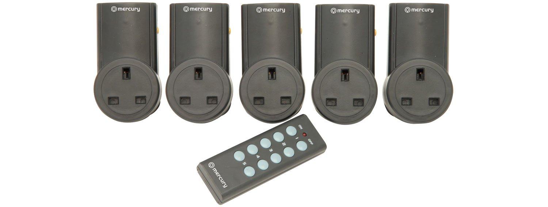 Remote Control Mains Socket Adaptors, Set of 5