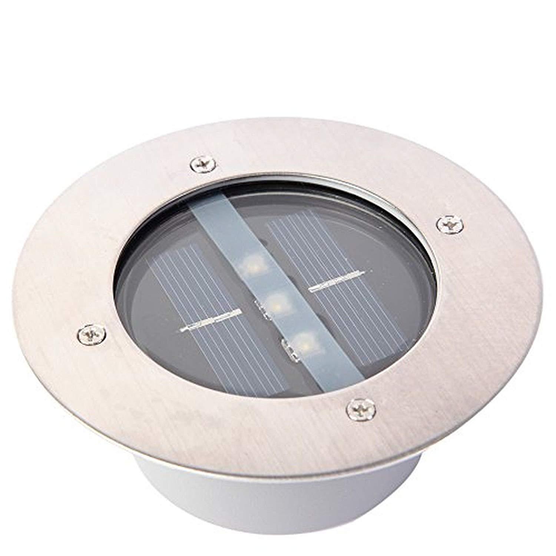 Yosoo Weatherproof Stainless Steel Outdoor Solar Power LED In Ground Bulbs Light