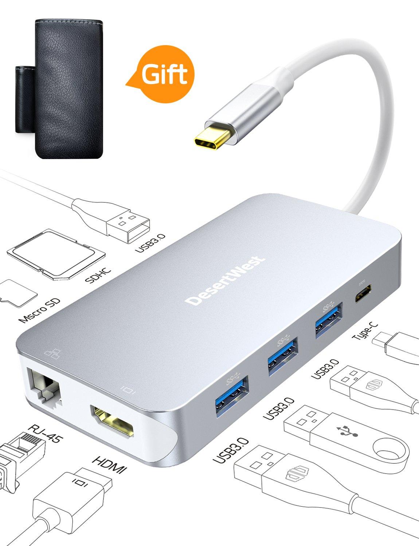 DesertWest USB C Hub 9 Ports USB C Adapter with 4K HDMI