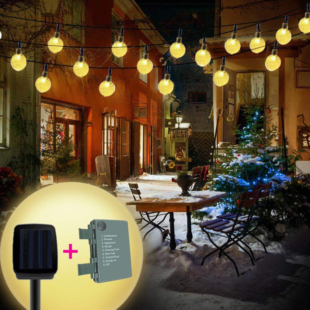 Brisun Solar String Lights & Battery Powered (2 in 1) 32 LEDs 15.4ft Waterproof Crystal Ball LED Fairy Lights