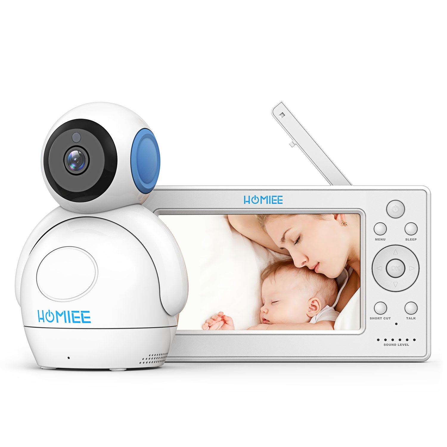 "HOMIEE 720P Wireless Video Baby Monitor with 5"" HD LCD Digital Screen & Robot Appearance Camera"