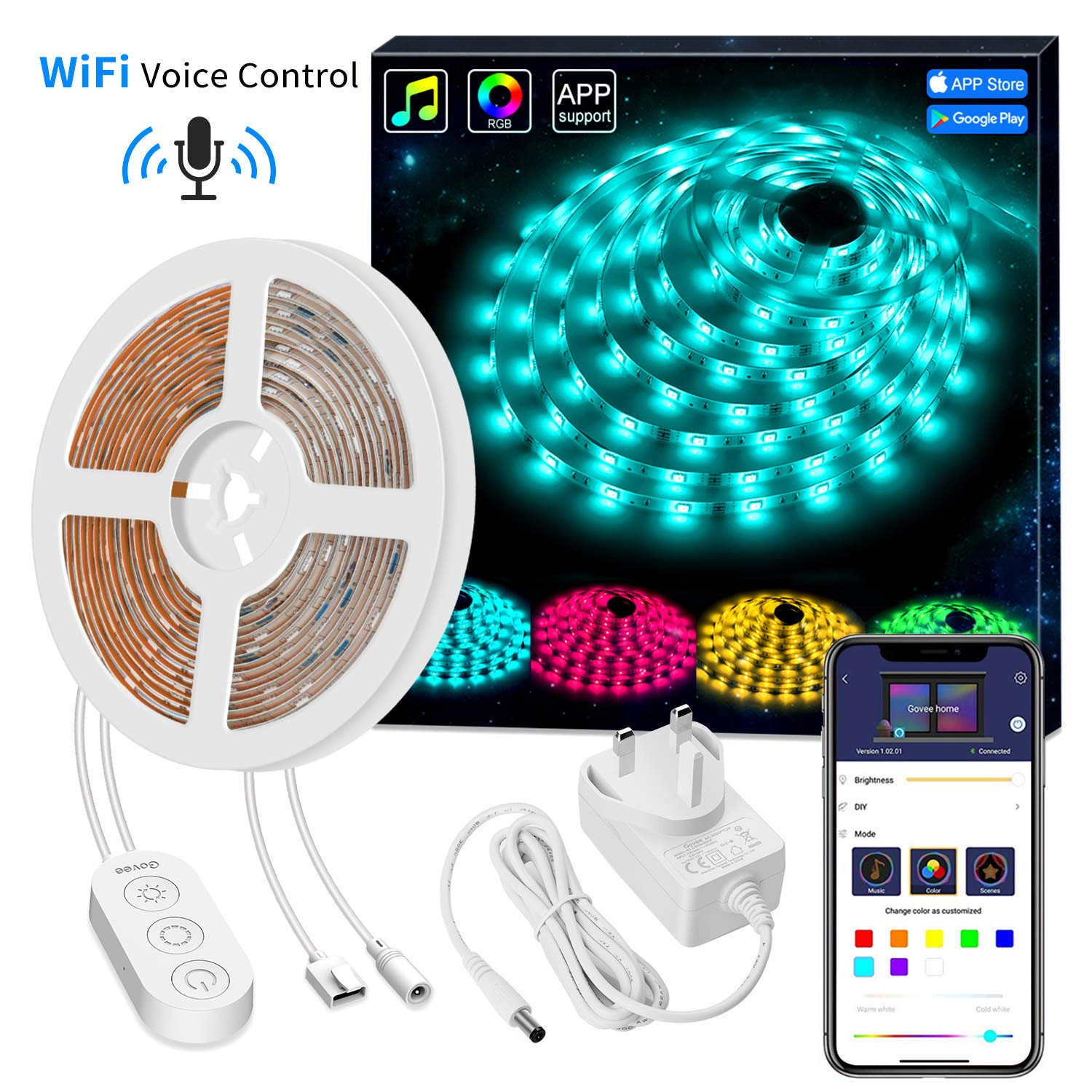 Alexa LED Strip Lights 5 Metre, Govee Smart WiFi Wireless APP Controlled