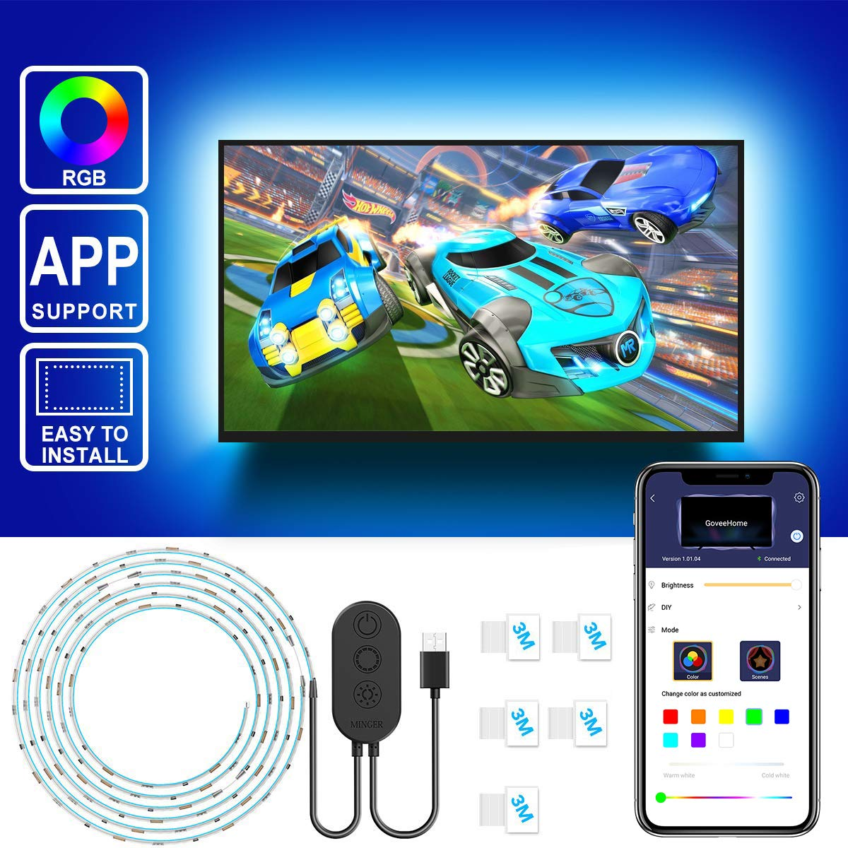 TV LED Backlight with APP Control [4pcs * 50cm]