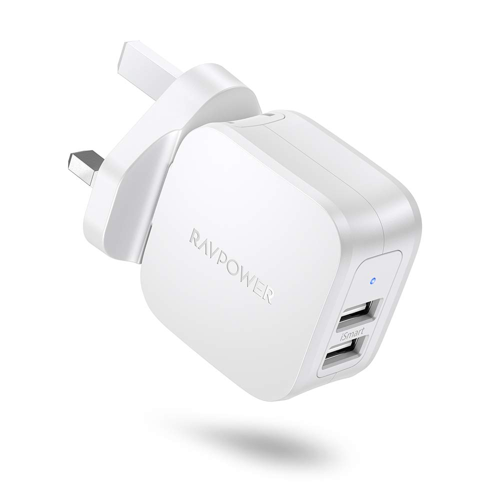 RAVPower USB Charger Mains Charger Plug 2-Port 17W Wall Charger Power Adapter