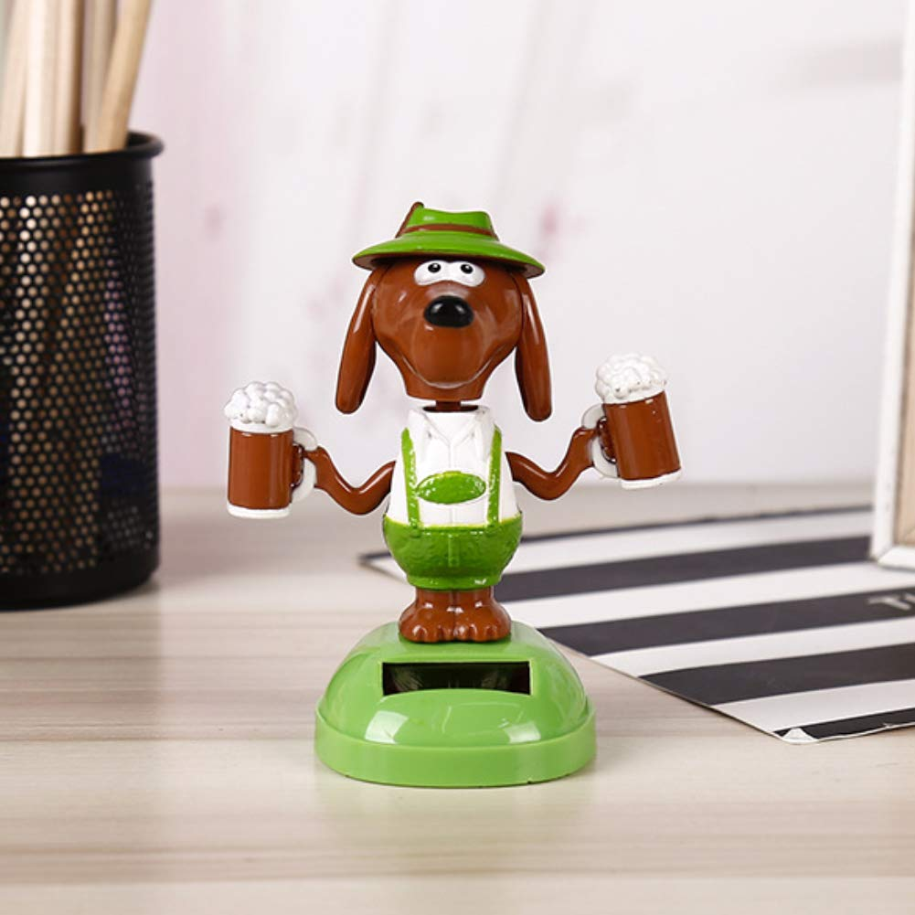 Beer Dog Model Solar Power Swing Toy Car Ornament Home Office Decor