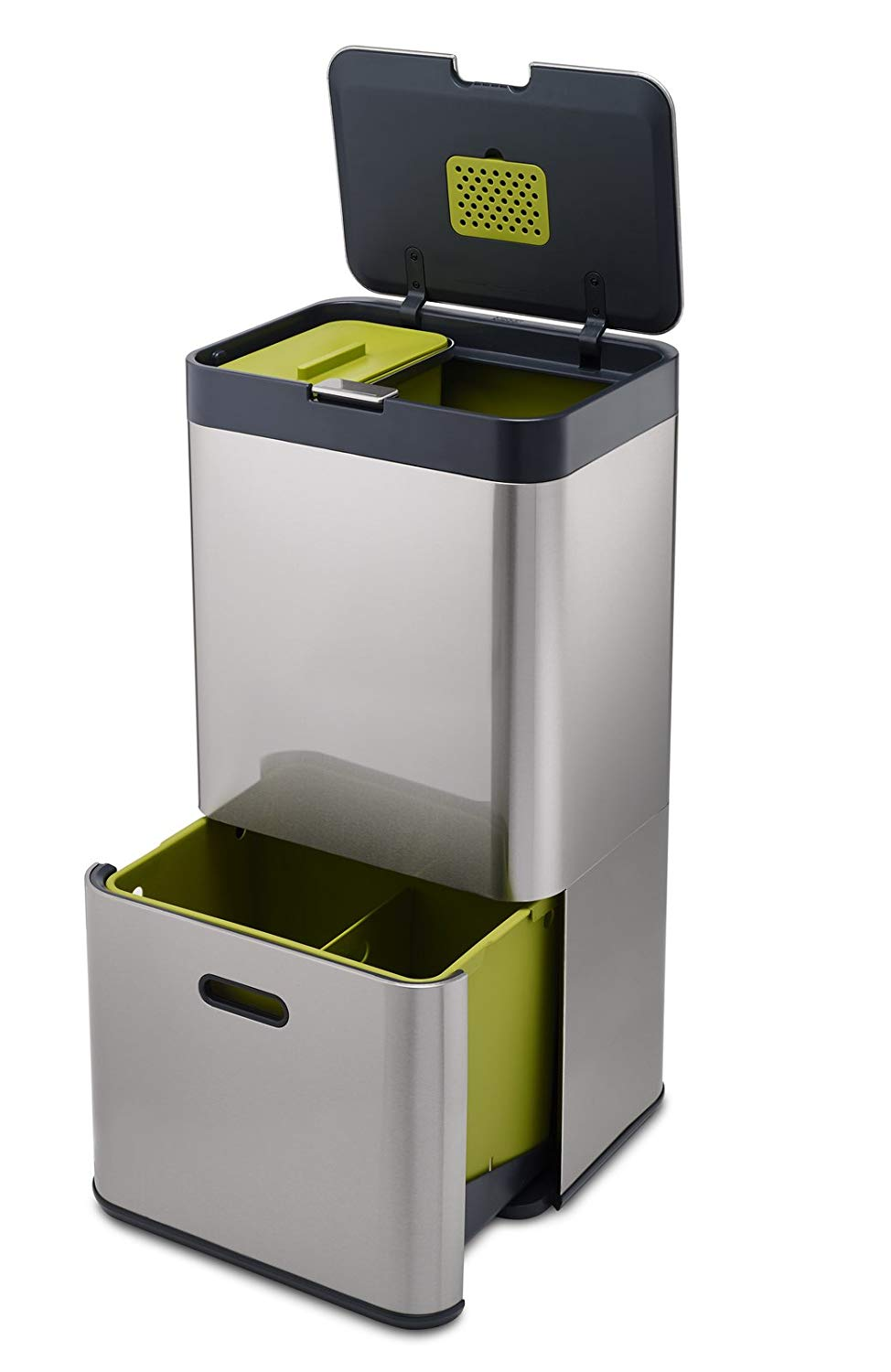Intelligent Totem Separation and Recycling Unit Includes 4 Litre Waste Caddy, Stainless Steel