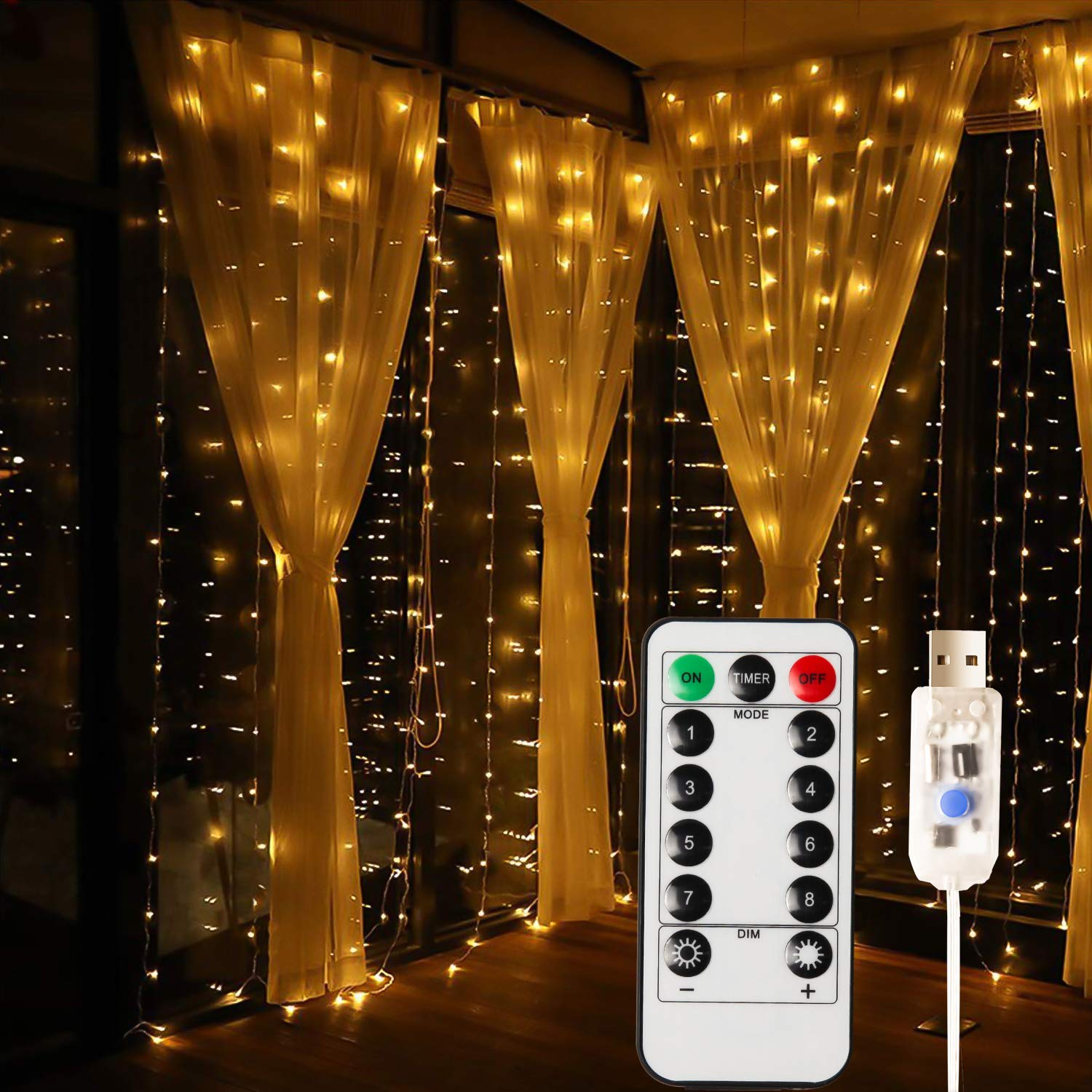 MagicLux Tech USB 300 LED Curtain Light with 8 Modes with Remote Controller Decoration for Dining Room