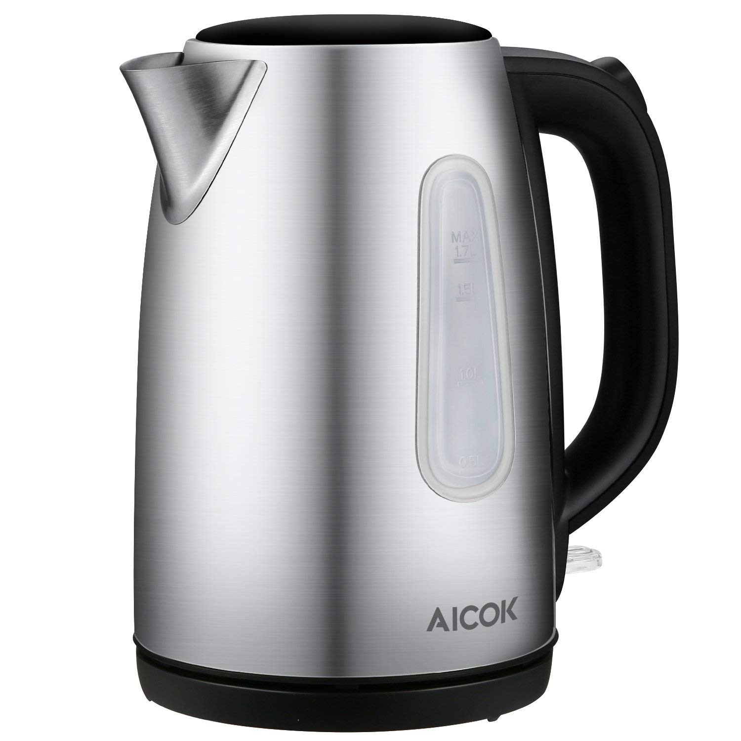 Aicok Electric Kettle Fast Boil 1.7 L 3000W Kettle, Brushed Stainless Steel Jug Kettle