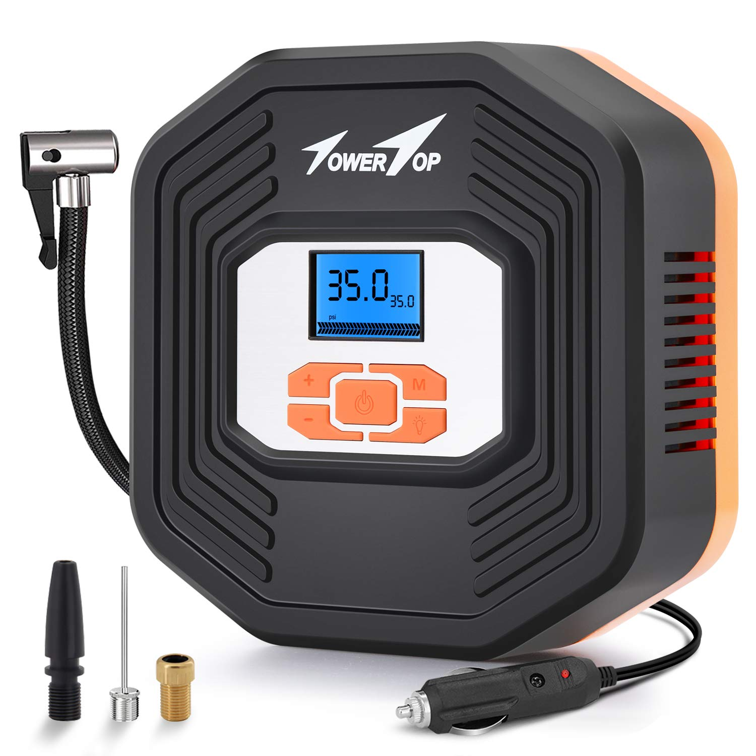 Towertop Digital Tyre Inflator, 12V DC Portable Air Compressor Pump, Car Tire Pump with LED Light and LCD Digital Display