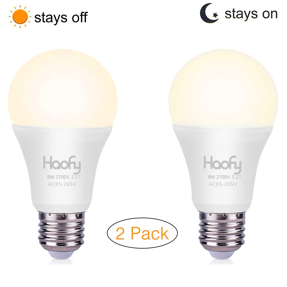 Dusk to Dawn Light Bulb, Haofy Smart Sensor LED Bulb Built-in Photosensor Detection with Auto Switch Outdoor/Indoor Lamp