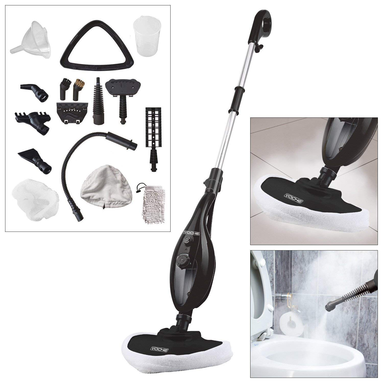 Voche® Black 1300W 16-in-1 Upright Steam Mop with Detachable Hand-Held Steam Cleaner