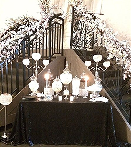 TRLYC 60″*102″ Christmas Black Sequin Table Cloth For Wedding