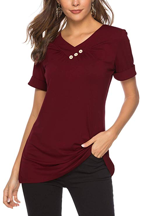 Dasbayla Women's Button Cowl Neck Jumper Tops Long Sleeve Pullover Sweatshirts