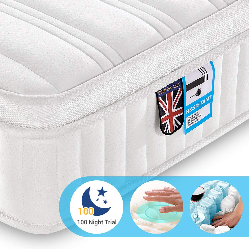 Lv. life UK King 3D Breathable Fabric Mattress with Pocket Springs / 9-Zone Support System